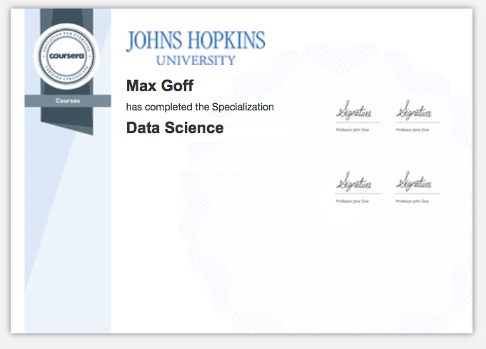 Johns Hopkins University (Coursera delivered) Data Science Specialization